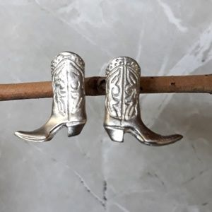 Silver Metal Cowboy Boots Earings